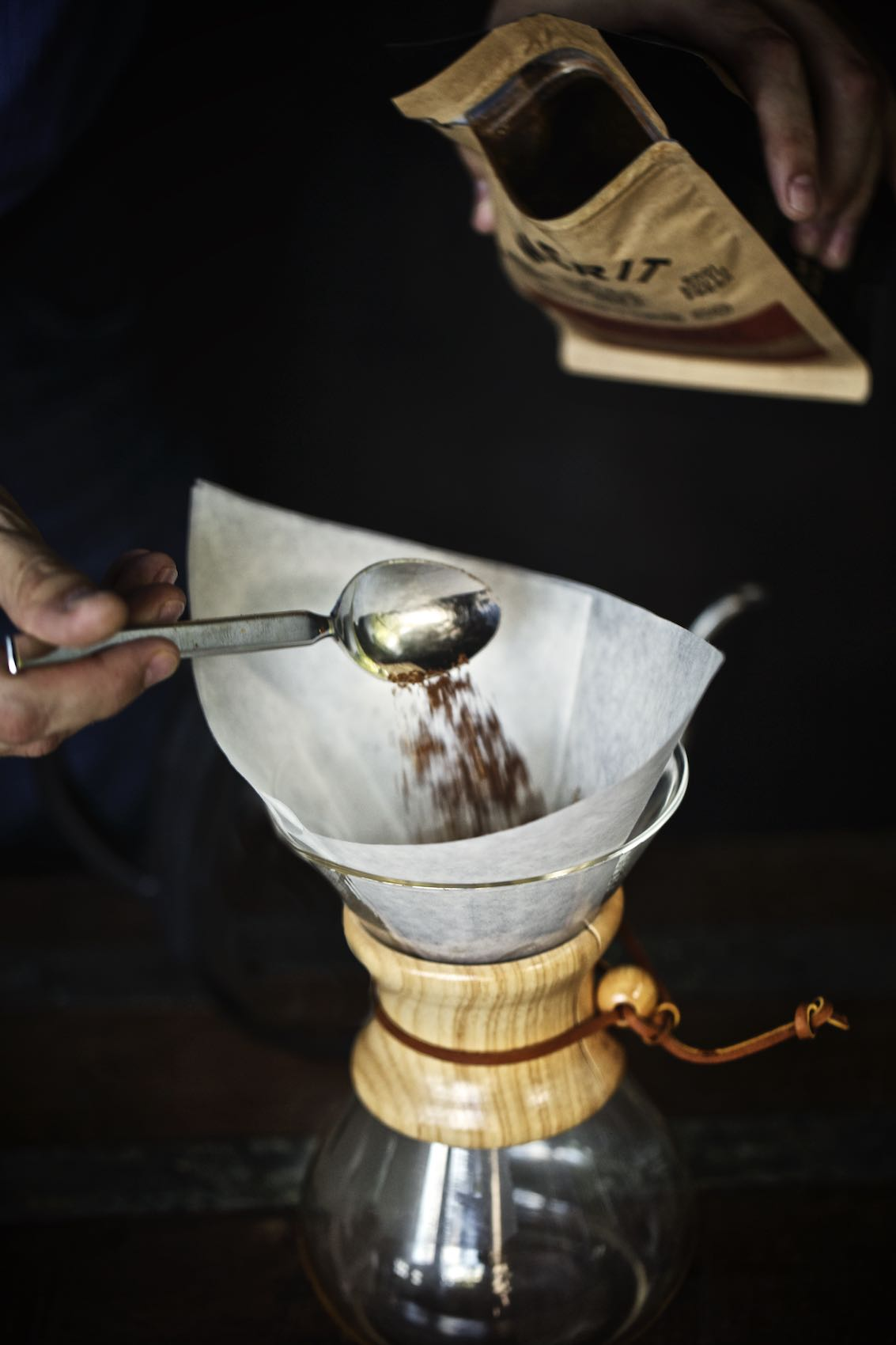 Jody Horton Photography - Coffee added to Chemex at Hotel Emma, San Antonio.