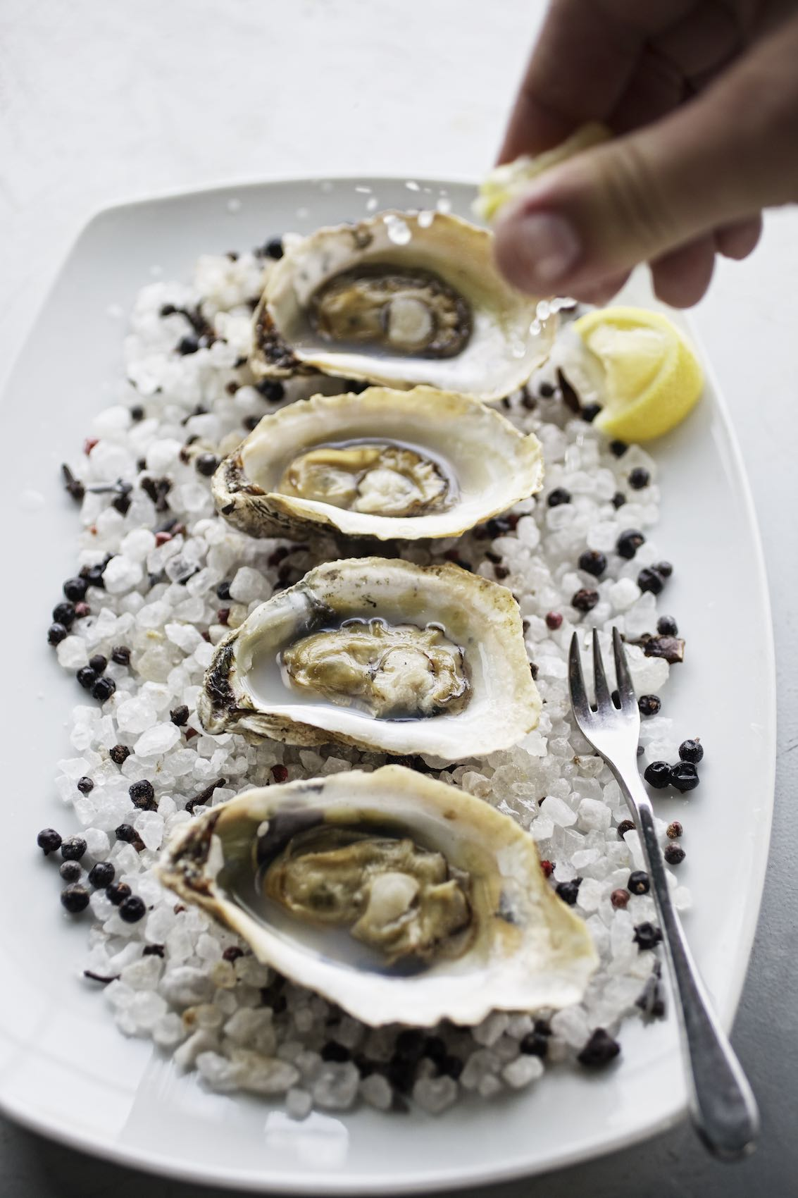 Jody Horton Photography - Four raw oysters with lemon on a white tray.