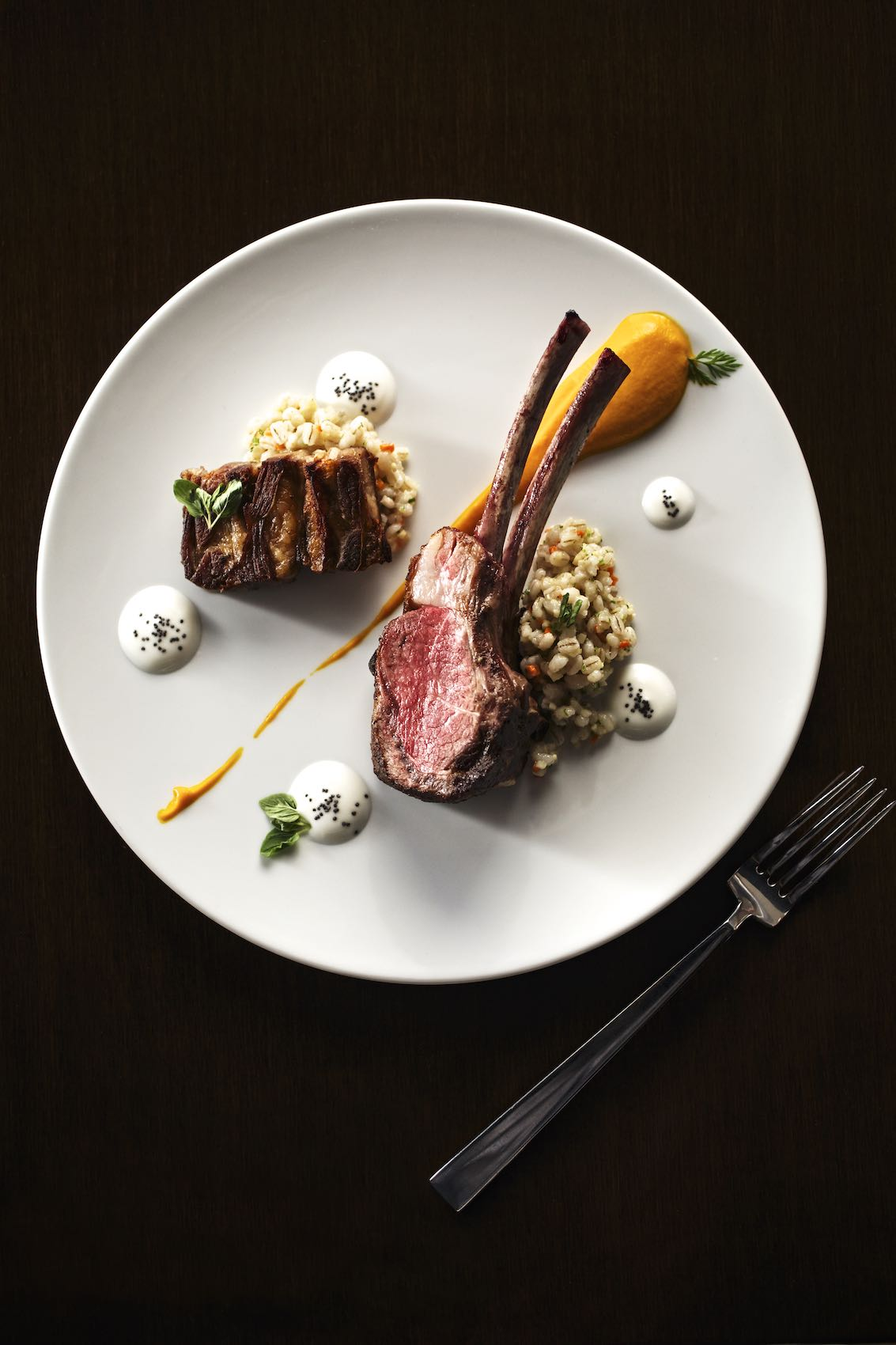 Jody Horton Photography - Lamb chop and grains on a white plate.