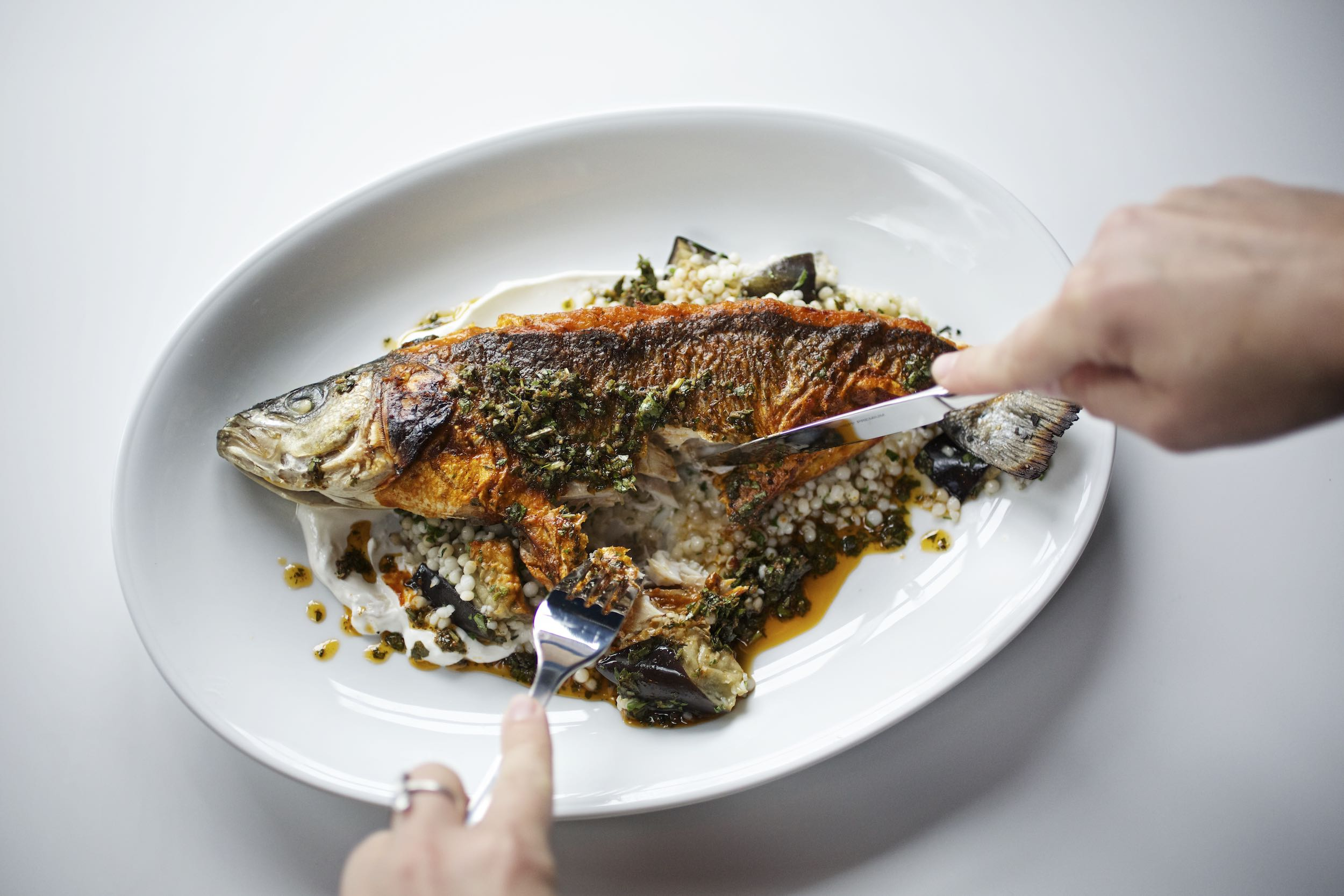 Jody Horton Photography - Whole cooked fish and couscous sitting on a white plate.