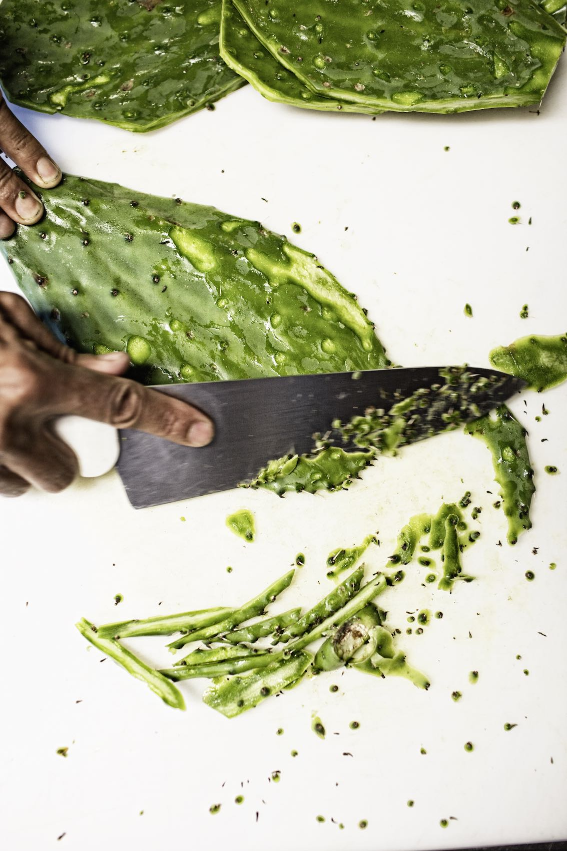 Jody Horton Photography - Chef knife cutting cacti on white cutting board.
