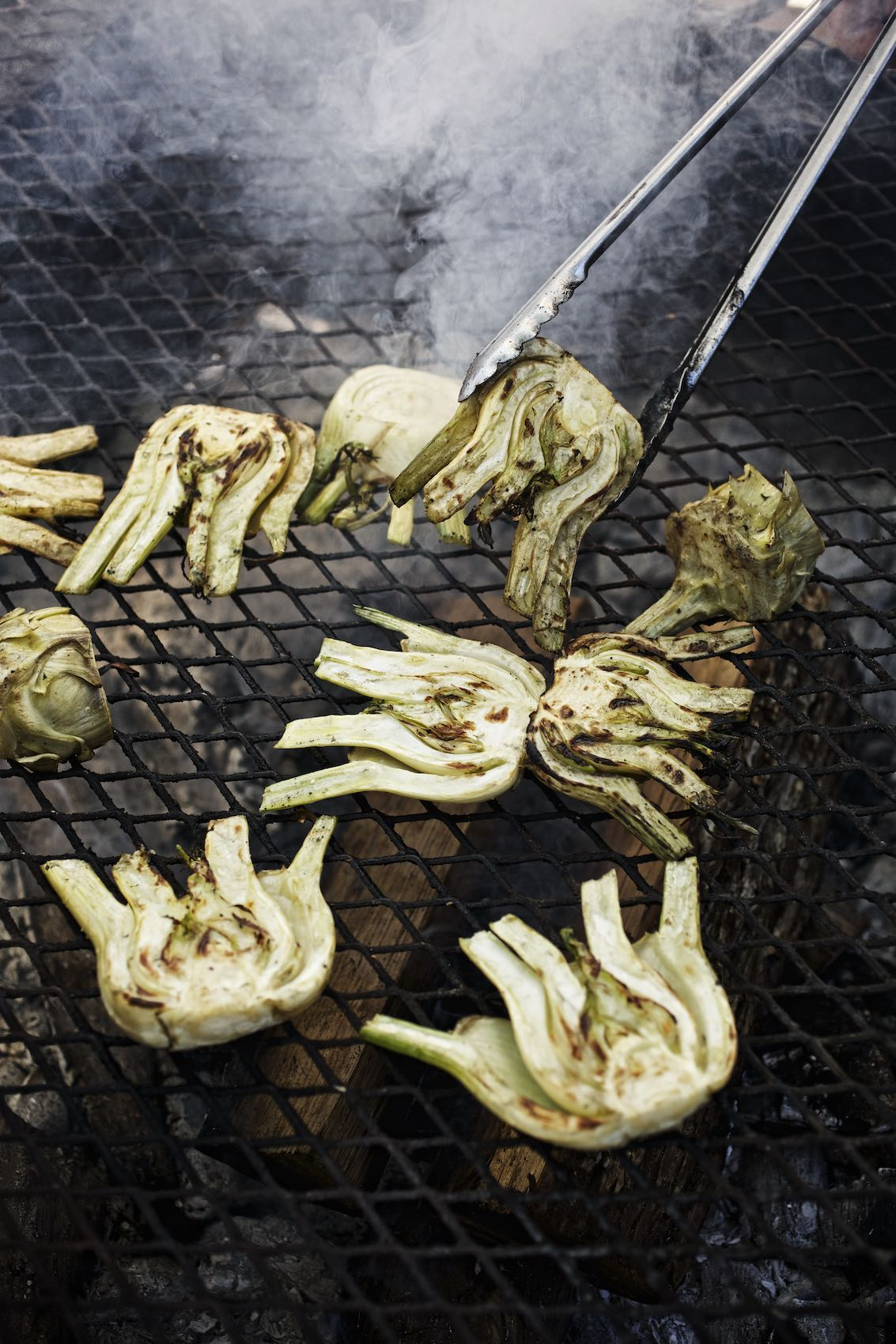 Jody Horton Photography - Fennel heads and artichoke hearts on grill.