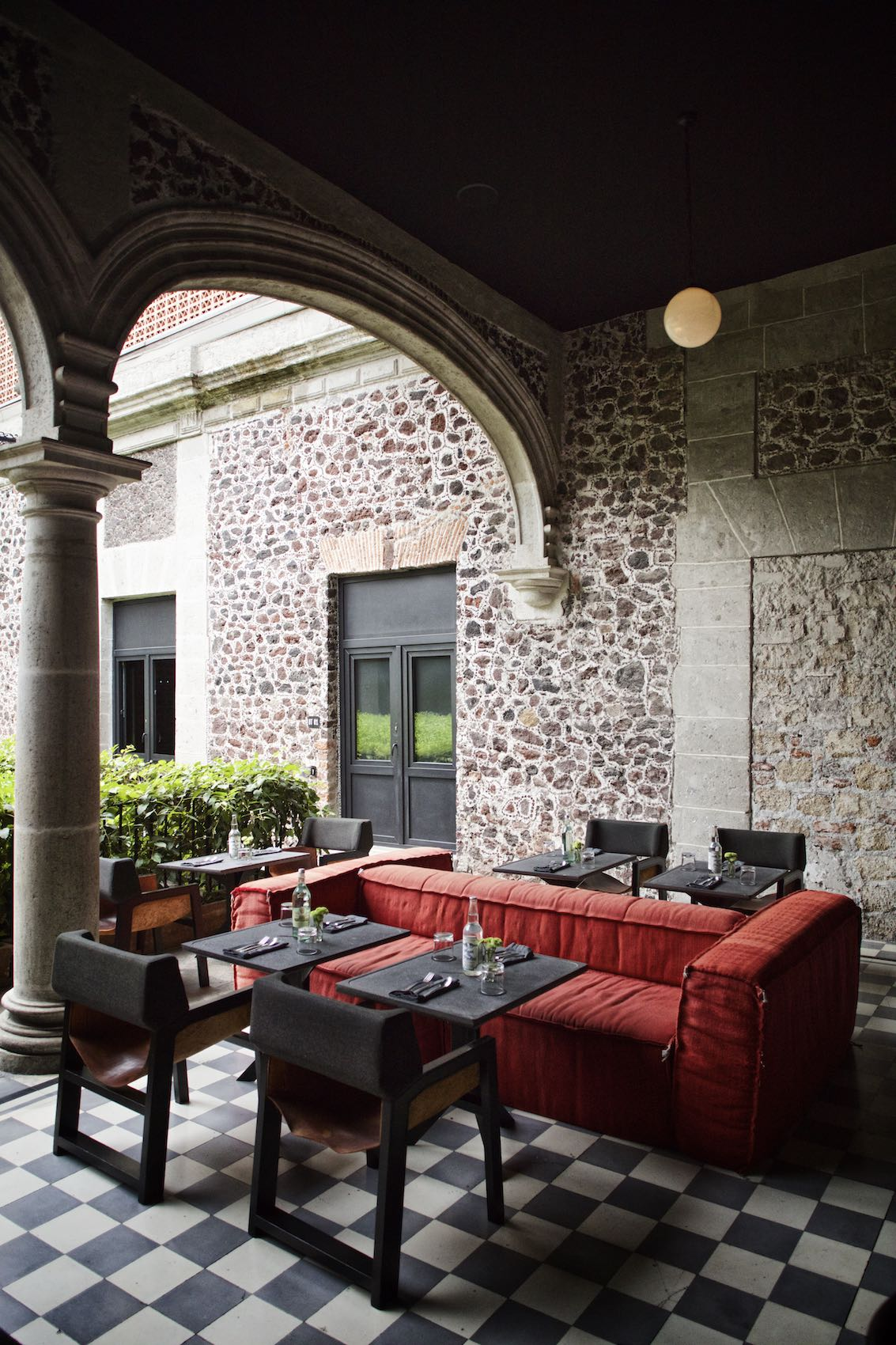 Outdoor restaurant with stone walls in Mexico City