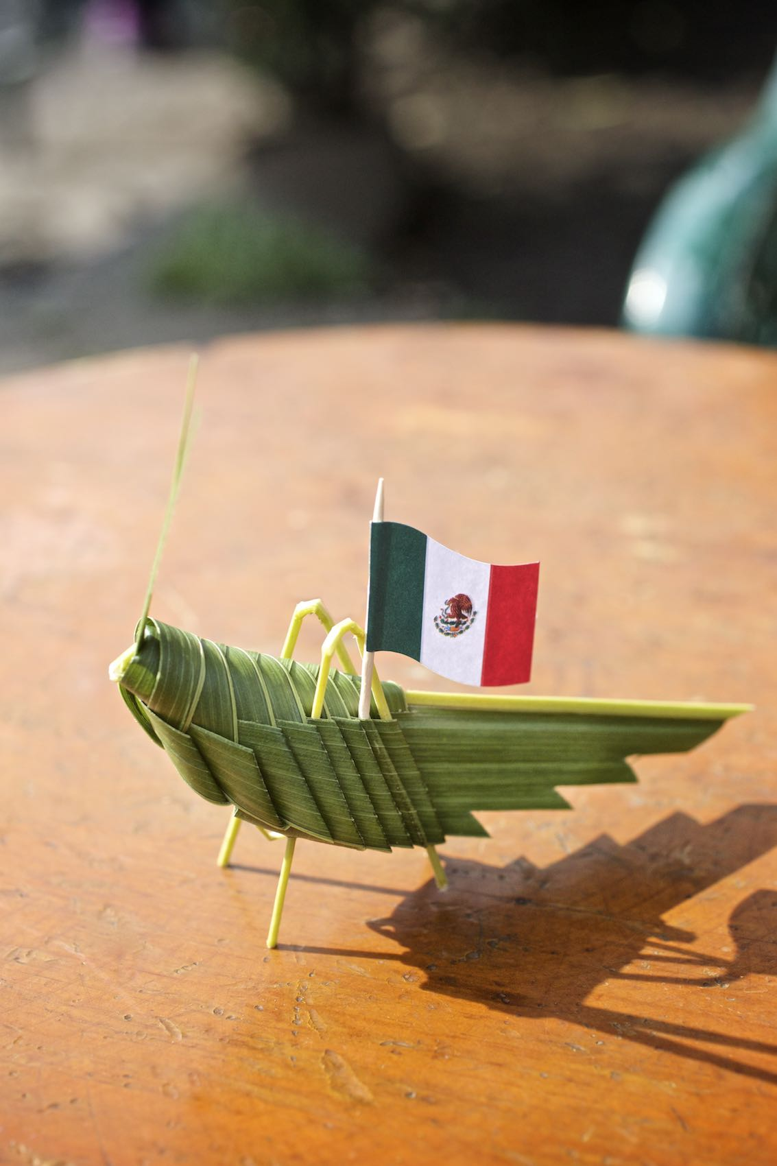 Grasshopper figurine made from leaves, bearing the Mexican Flag.