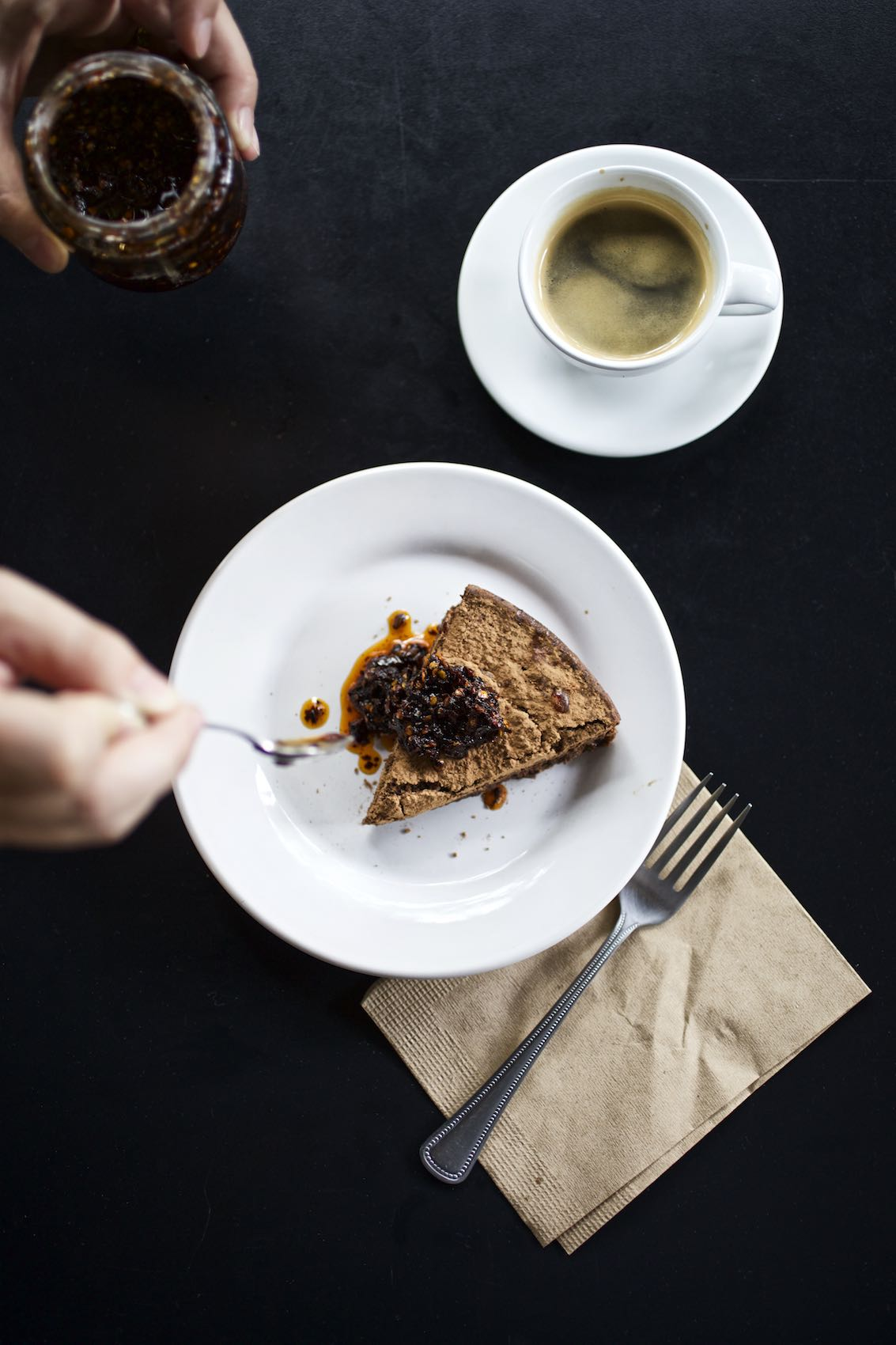Jody Horton Photography - Cafe snack garnished with sauce and espresso.