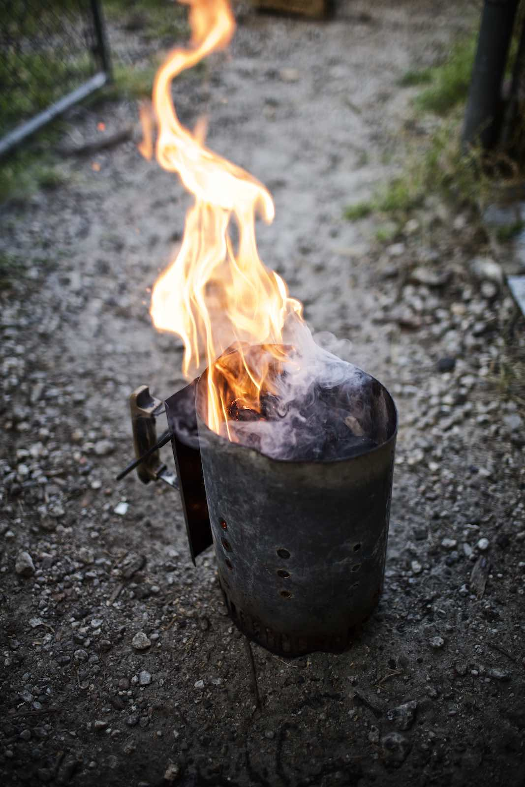 Jody Horton Photography - Small charcoal smoker on gravel.