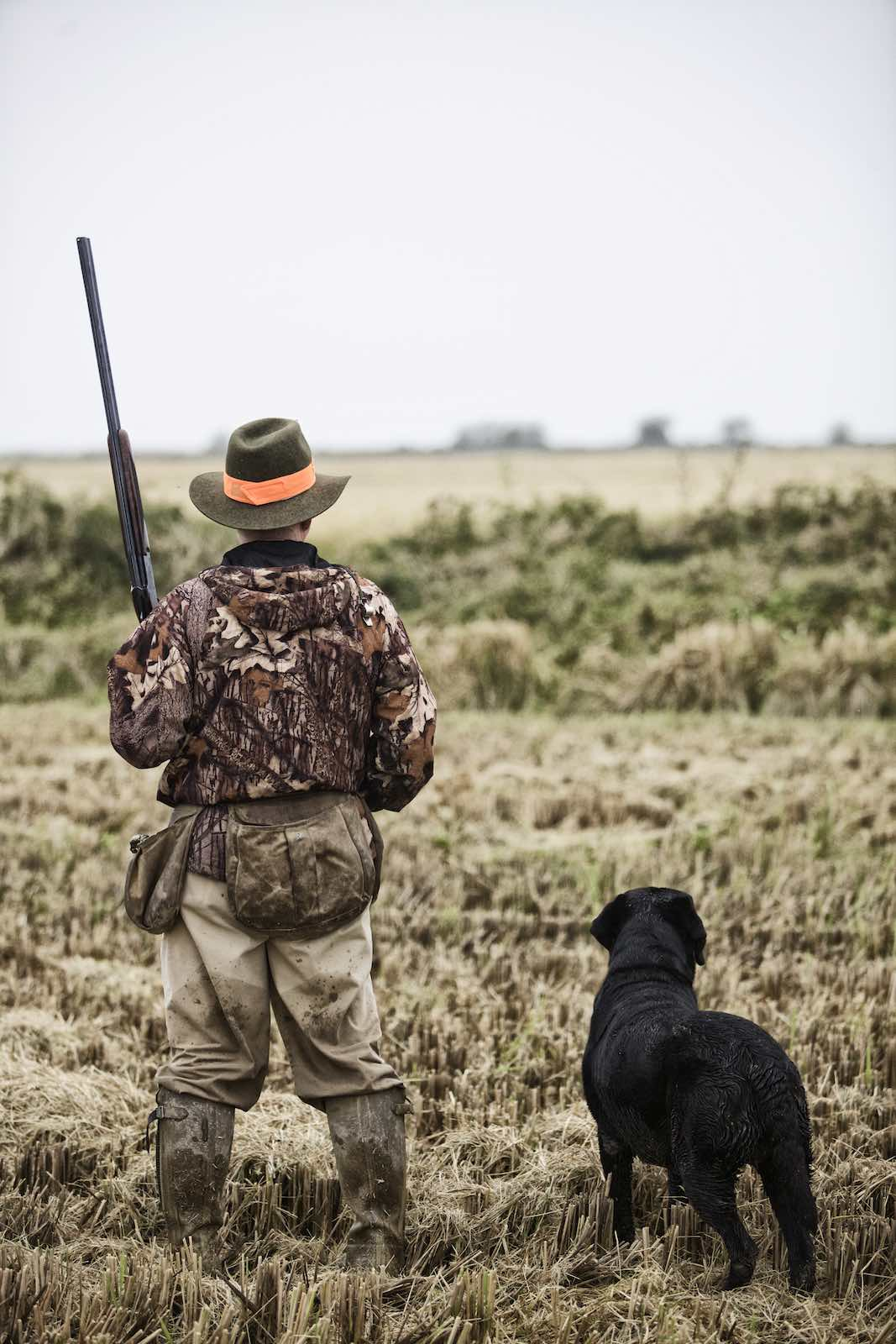 Jody Horton Photography - Hunter and dog looking out at field.