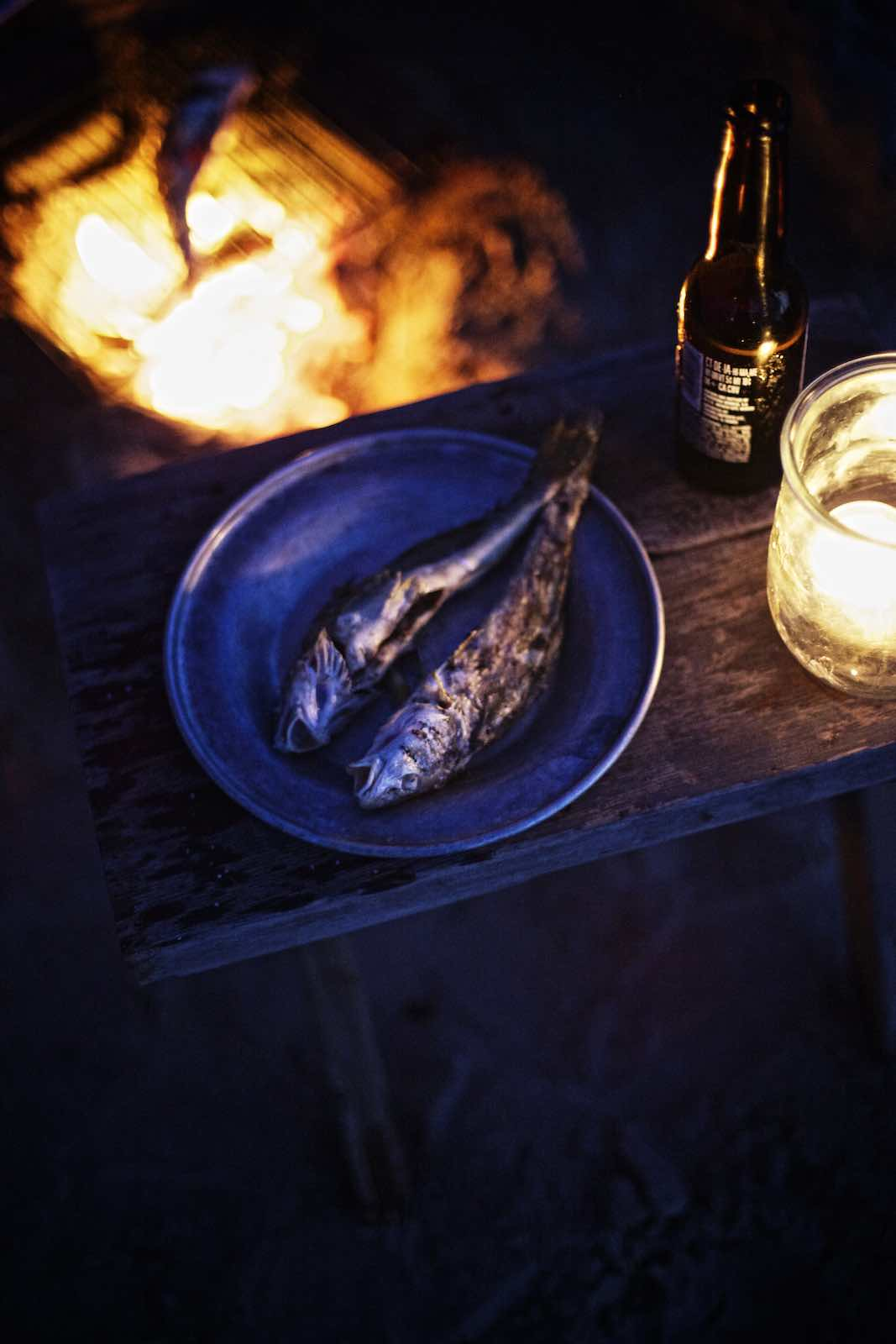 Jody Horton Photography - Grilled fish on a silver plate.
