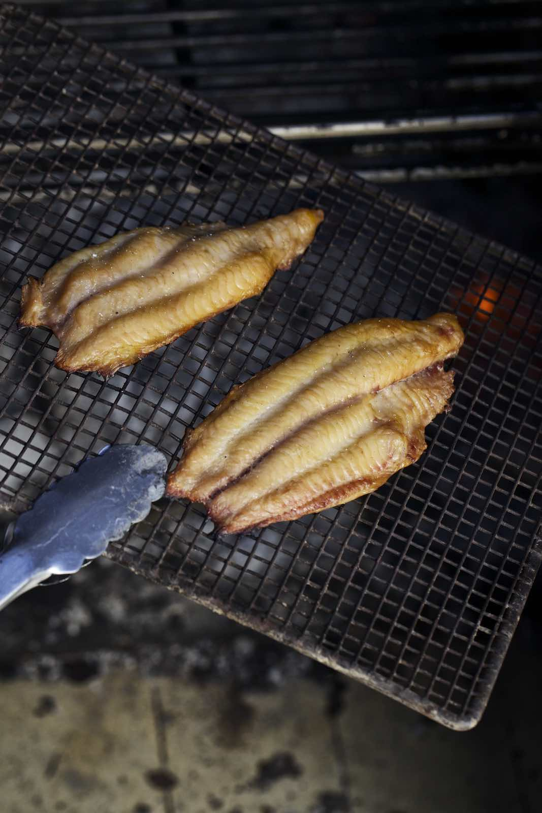 Jody Horton Photography - Cooked fish fillets on a grill grate.