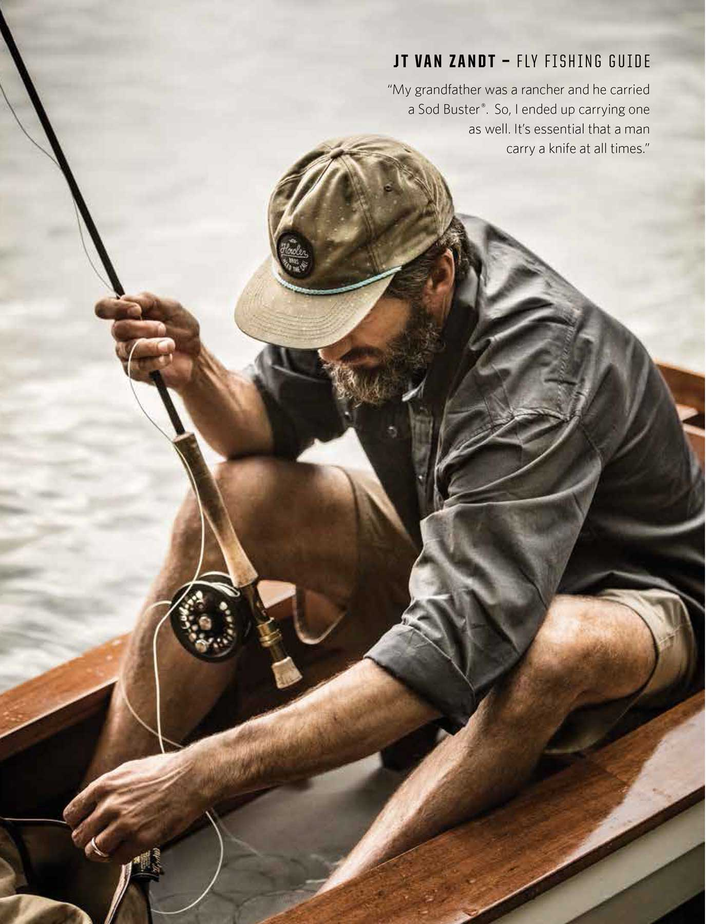 Jody Horton Photography - Case Knives editorial, fisherman hooking a line while sitting in a small boat.