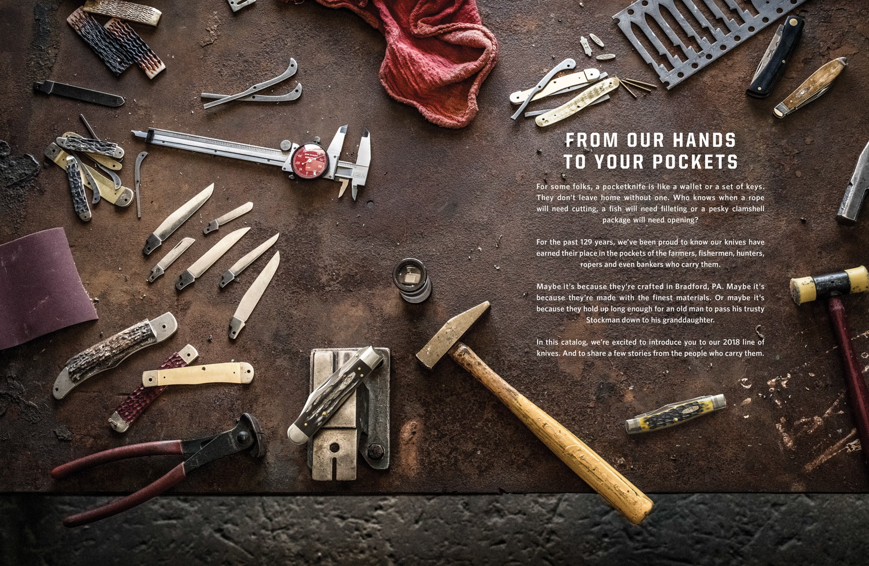 Jody Horton Photography - Case Knives editorial, components and tools used in making Case knives.