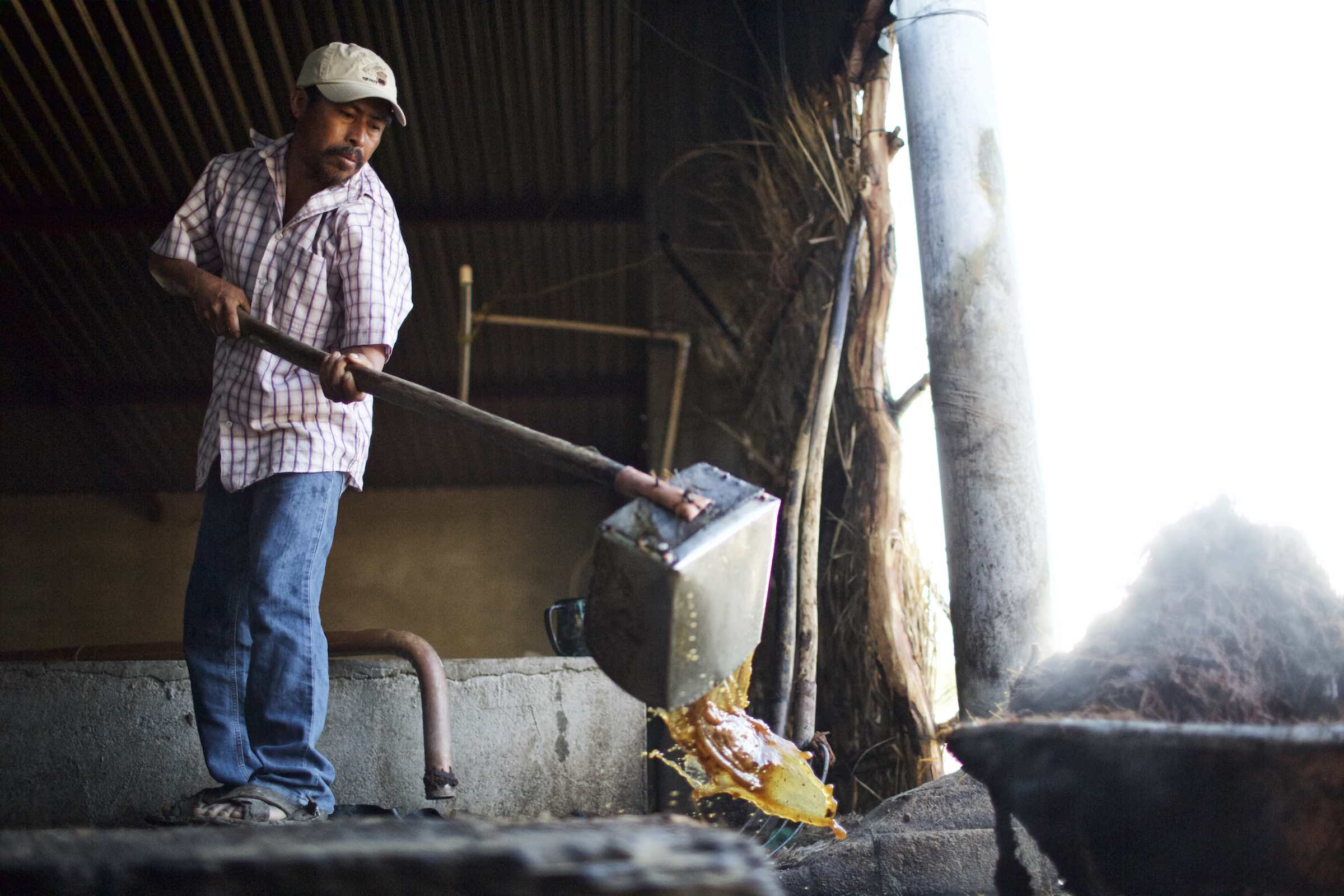 Farmer dumping liquid during production.