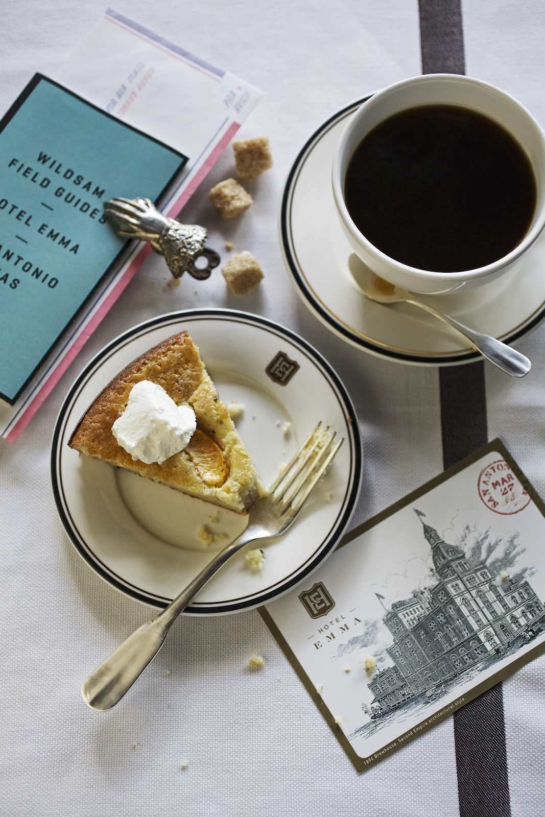 Jody Horton Photography - Dessert and coffee with a Hotel Emma postcard.
