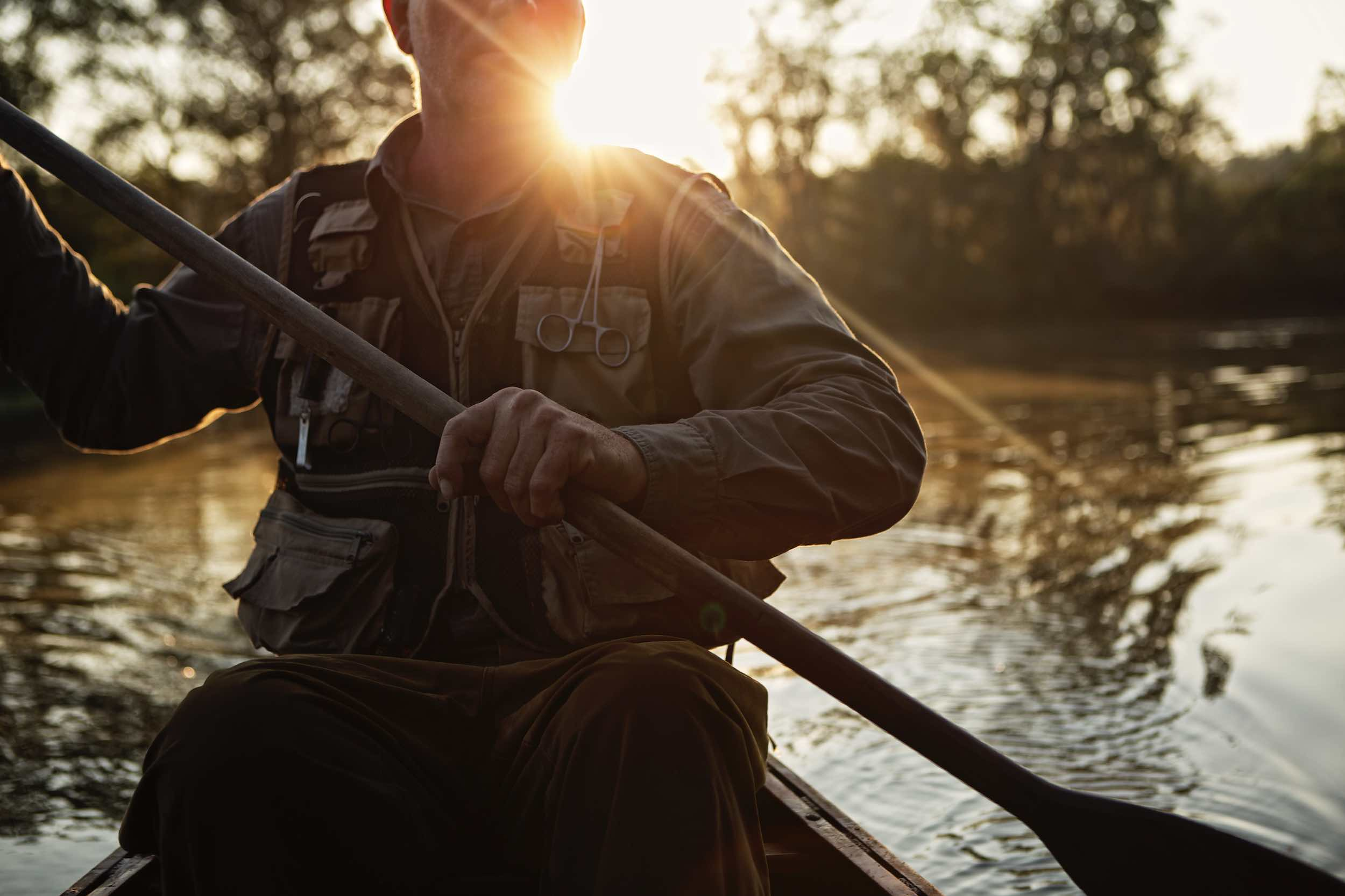 Jody Horton Photography - Canoer on the water at sunset, shot for Jack Daniels Single Barrel