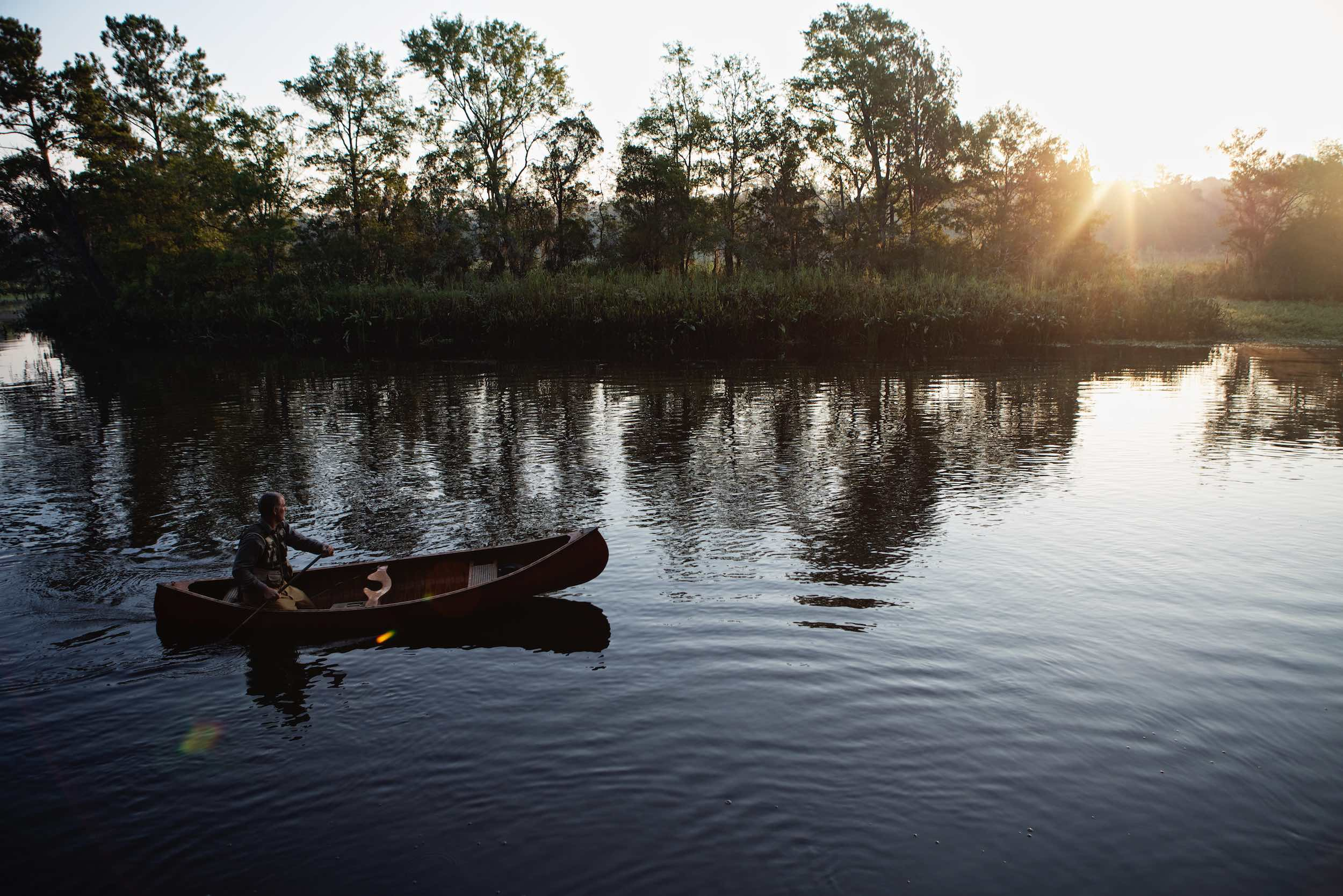 Jody Horton Photography - Canoer on the water at sunset, shot for Jack Daniels Single Barrel.