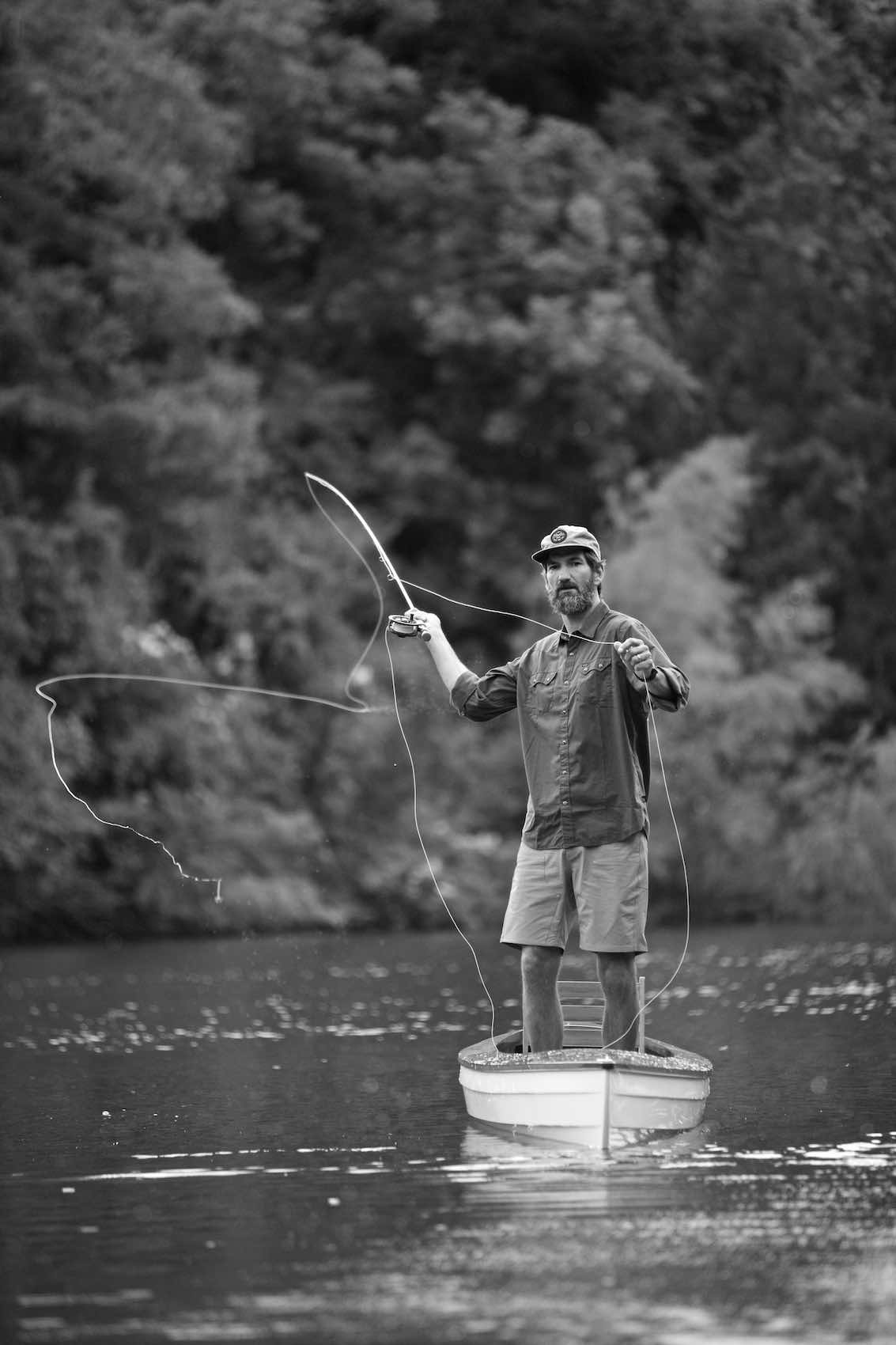 Jody Horton Photography - Fisherman casting line, shot in B&W for Case Knives.