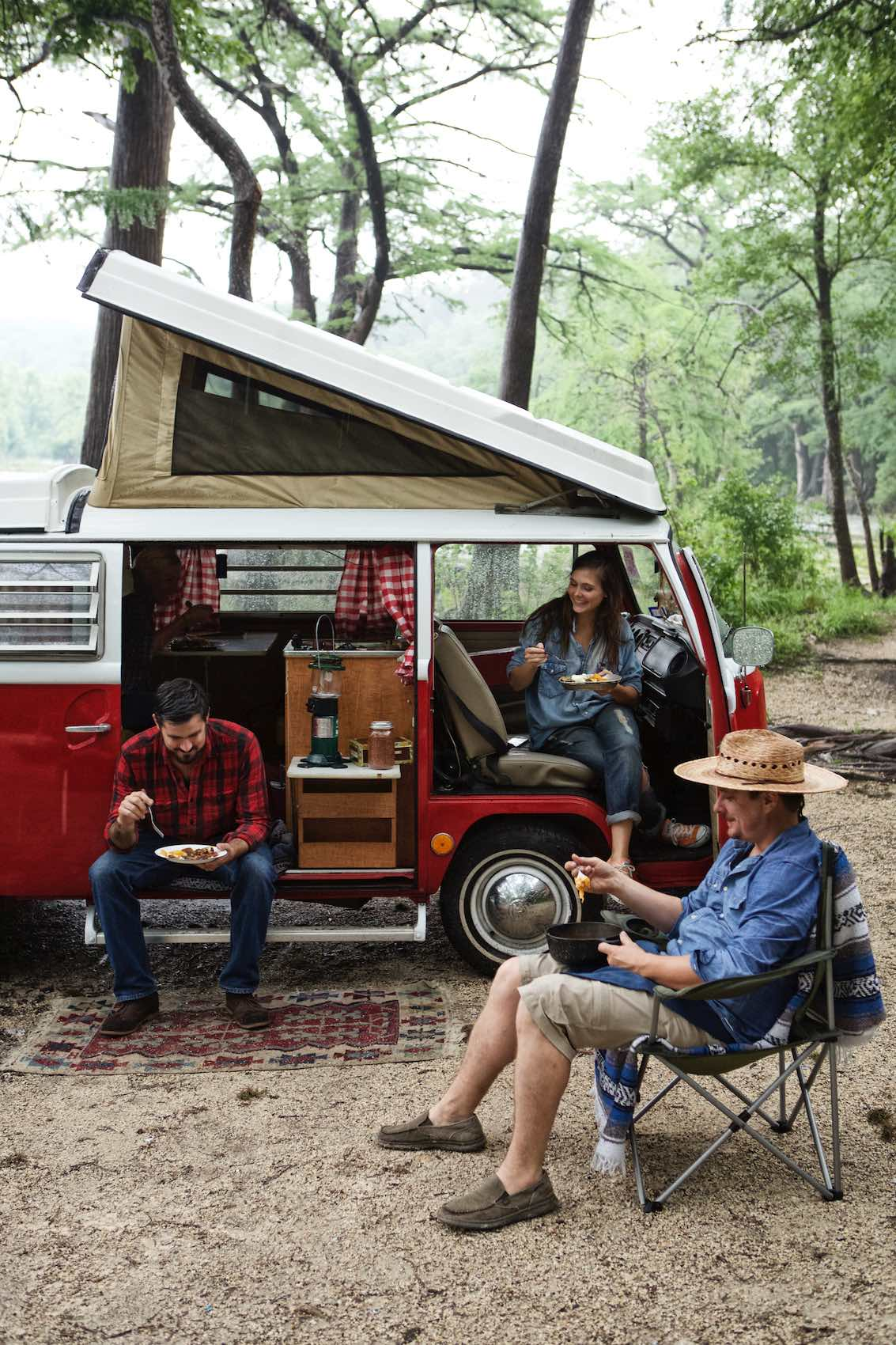 Jody Horton Photography - Friends dining outside of camper van.