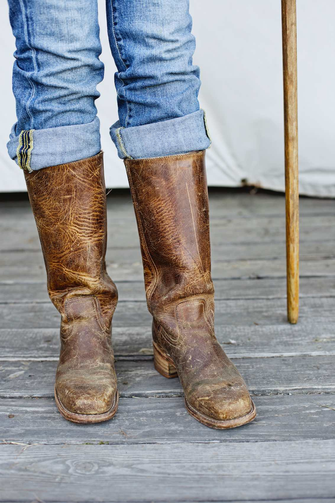 Jody Horton Photography - Leather boots of sheep farmer.