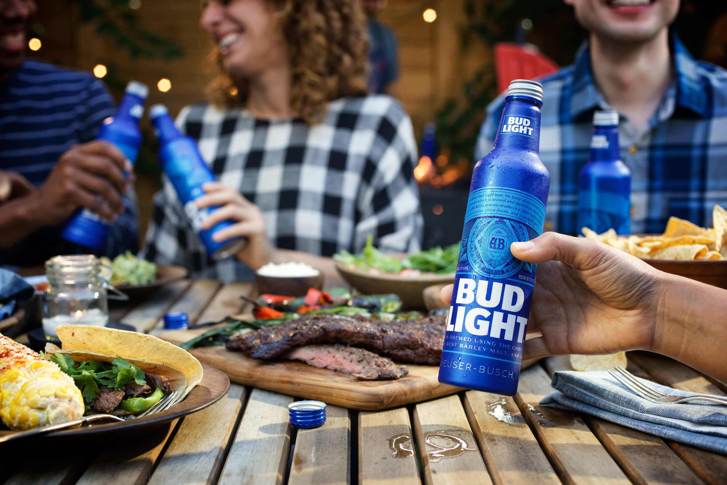 Jody Horton Photography - Bud Light aluminum bottles at backyard BBQ.