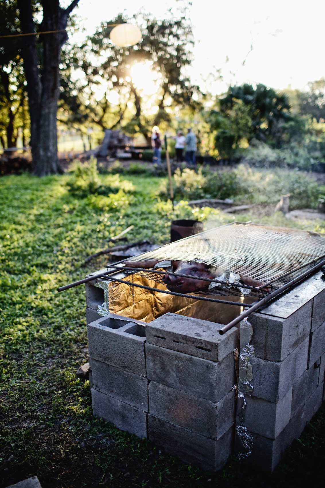 Jody Horton Photography - Whole hog cooking above outdoor smoke pit.
