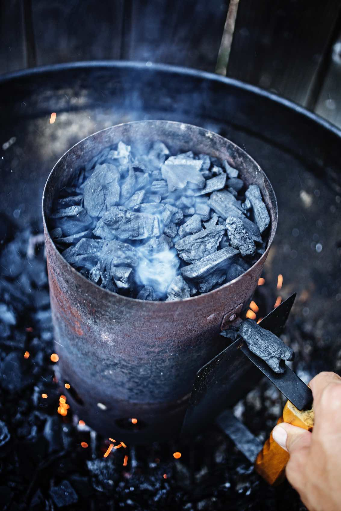 Jody Horton Photography - Smoking charcoal on grill.