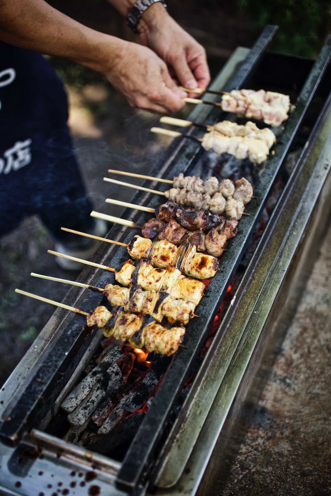 Jody Horton Photography - Assorted kebabs cooking on a charcoal fire.