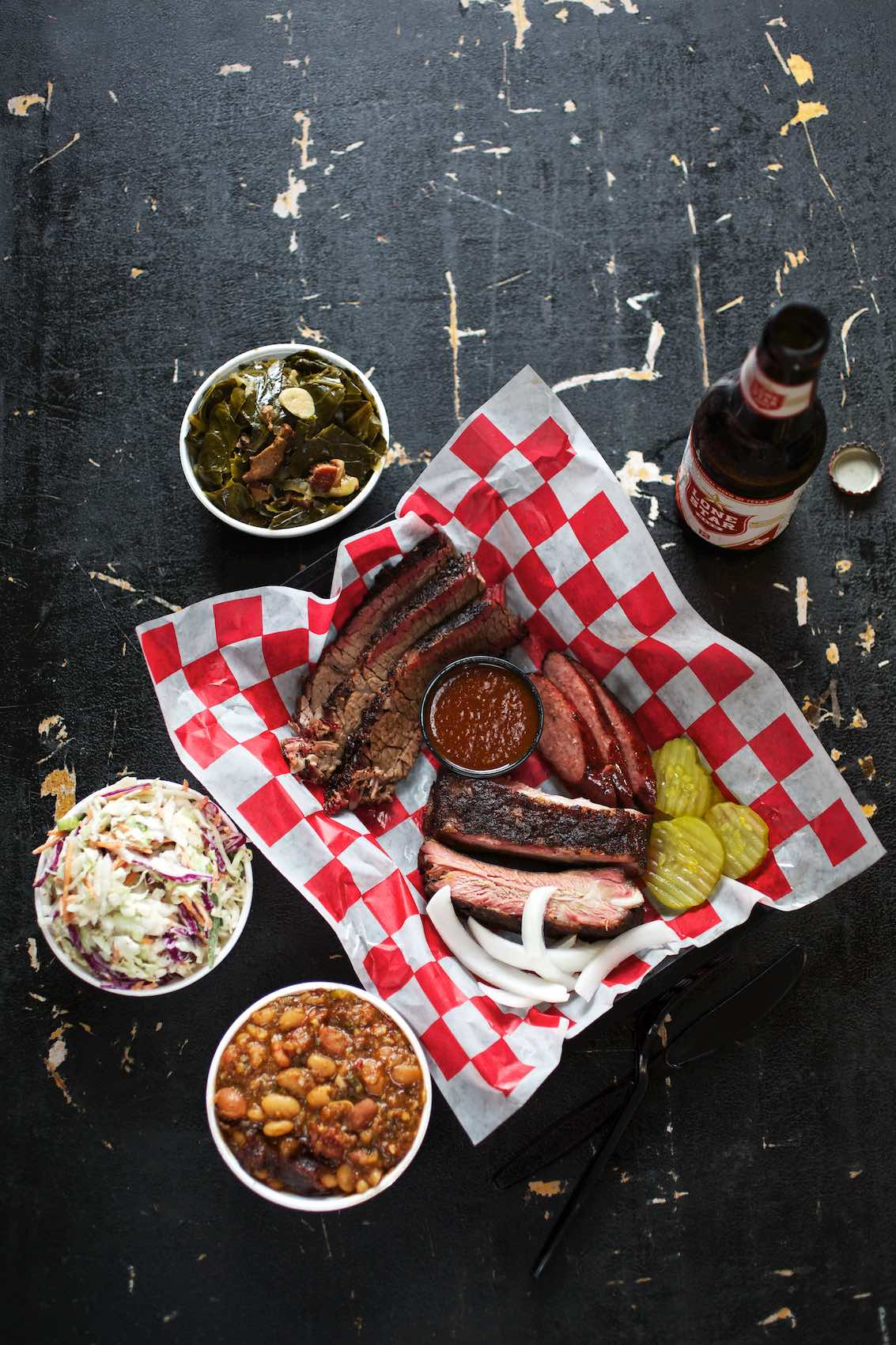 Jody Horton Photography - Barbecue spread and bottled Lonestar Beer.
