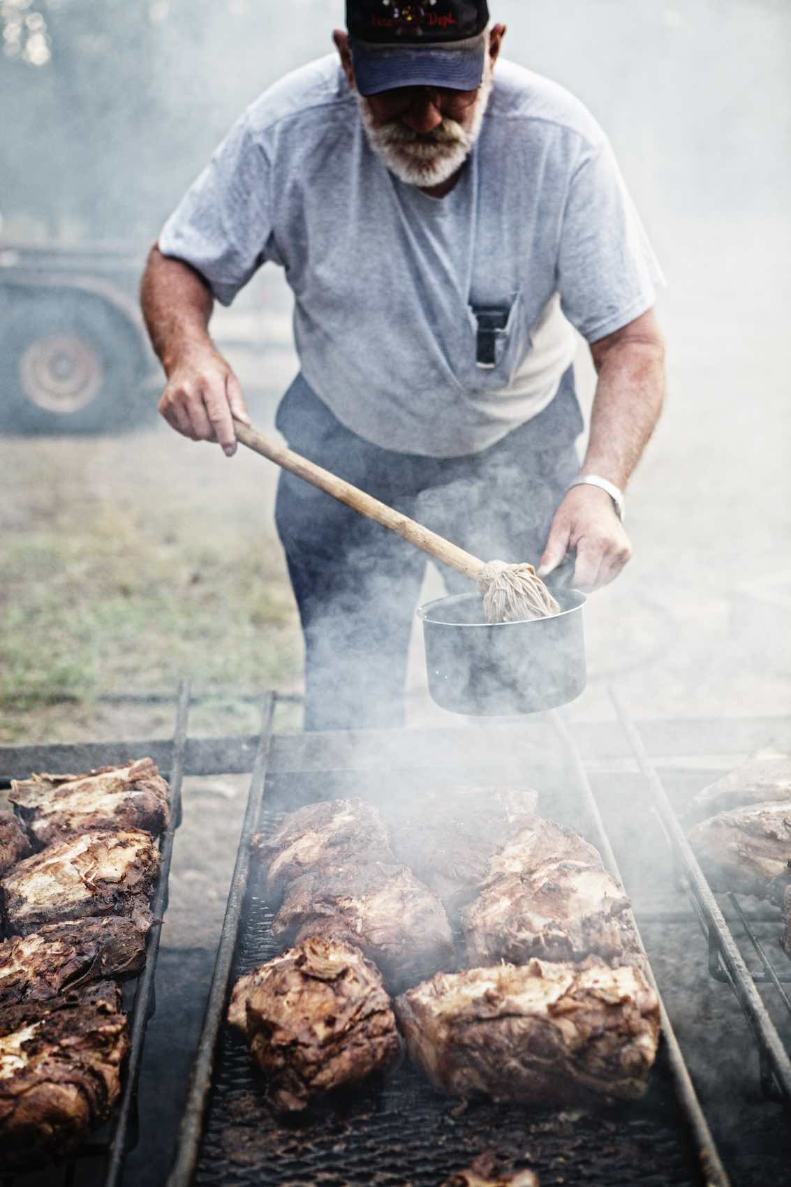 Jody Horton Photography - Cooking meats on outdoor smoker.