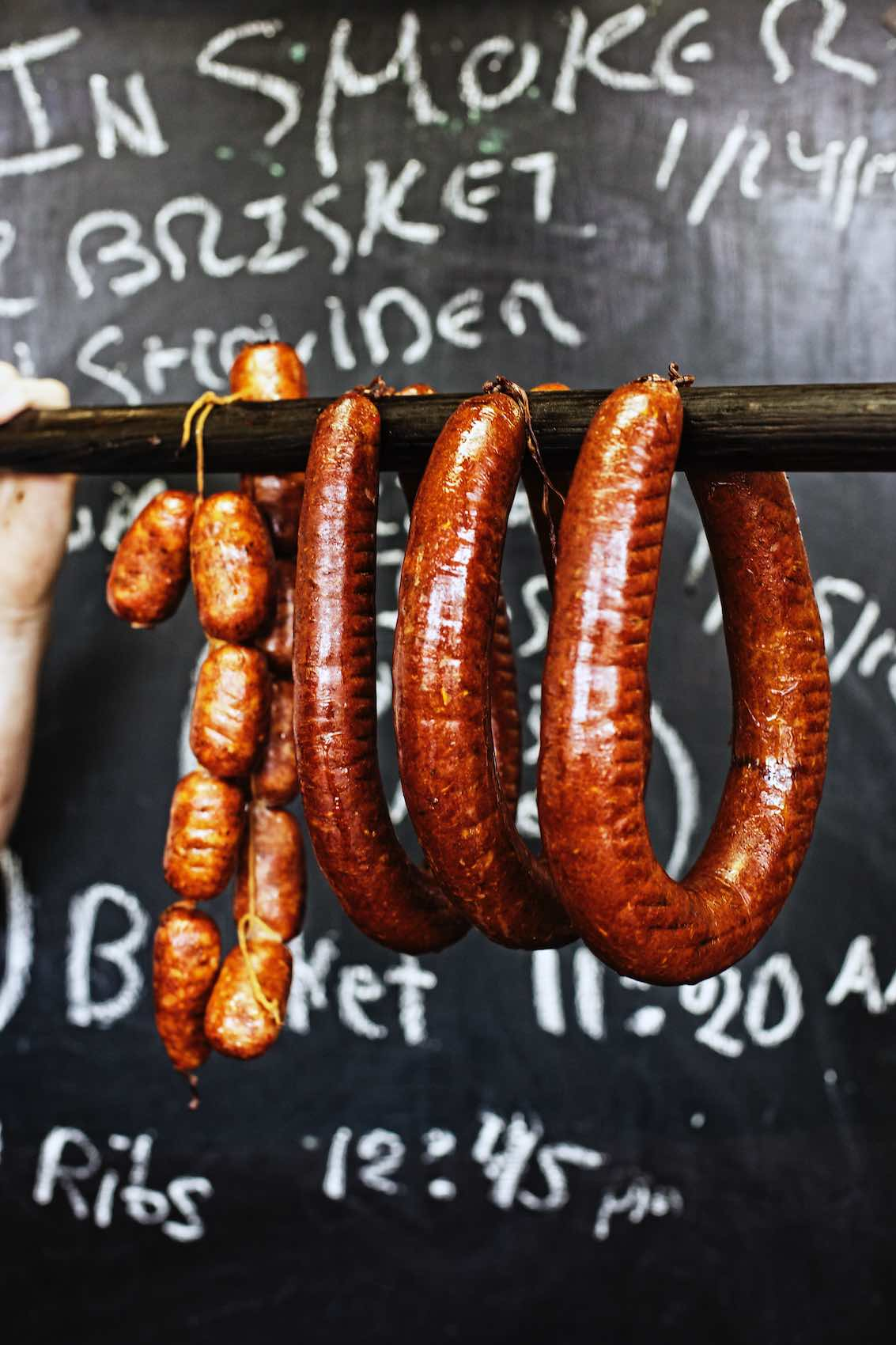 Jody Horton Photography - Smoked sausages and chalkboard.