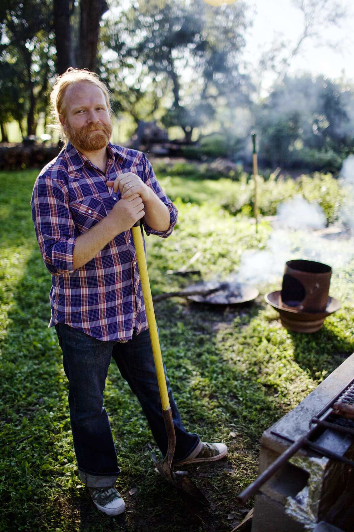 Jody Horton Photography - Chef standing outside shovel.