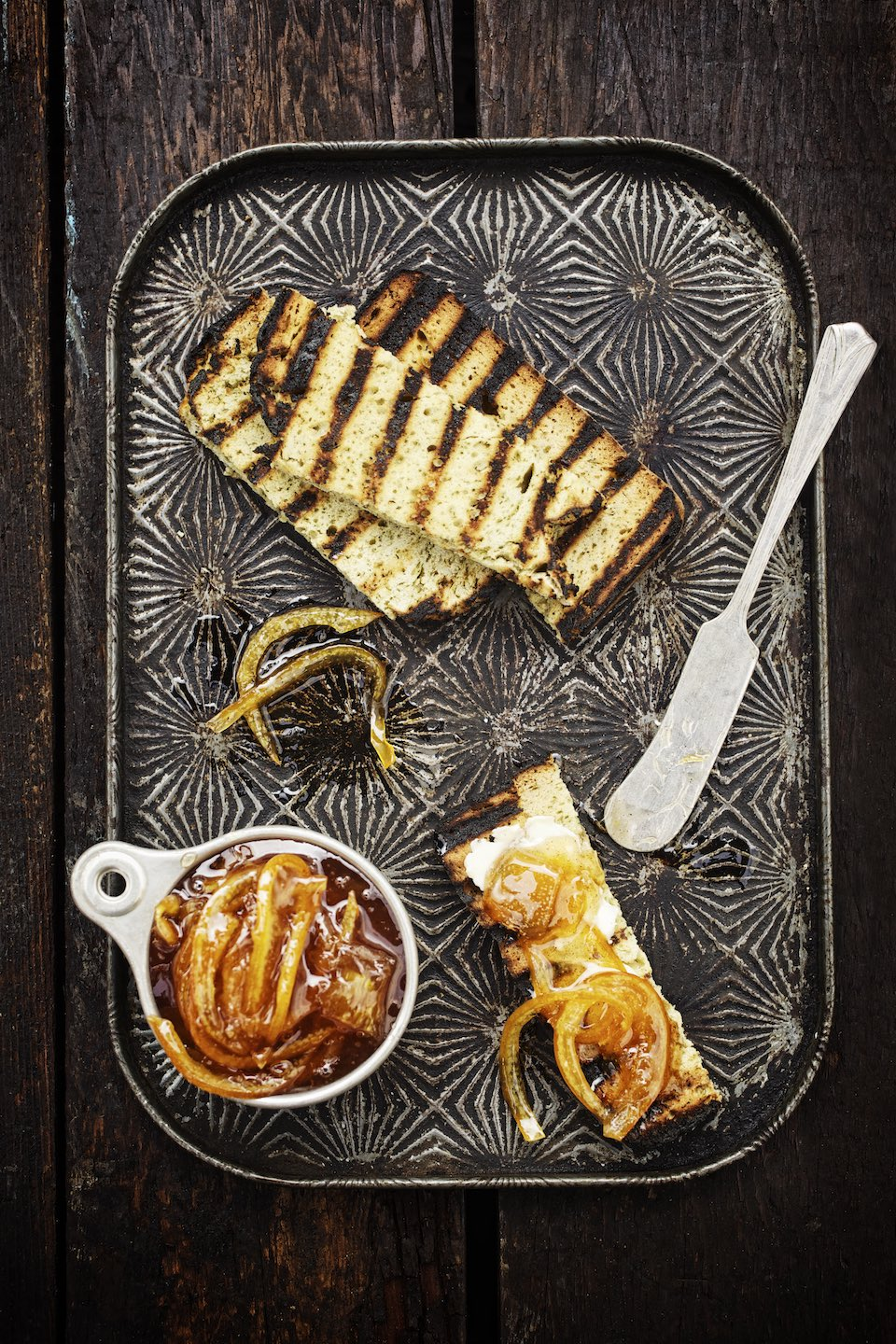 Jody Horton Photography - Grilled bread and candied orange preserves.